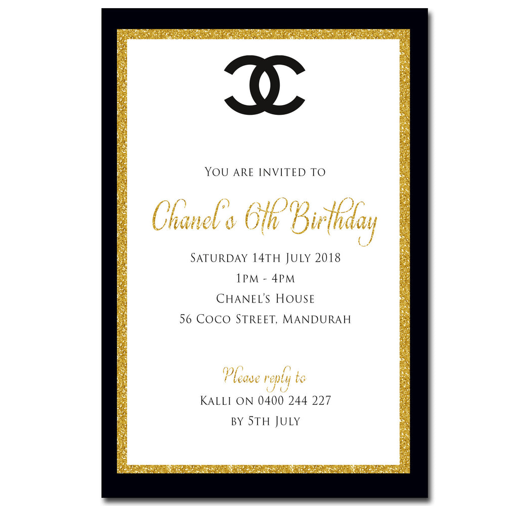 Chanel - Chanel Themed Birthday Invitation