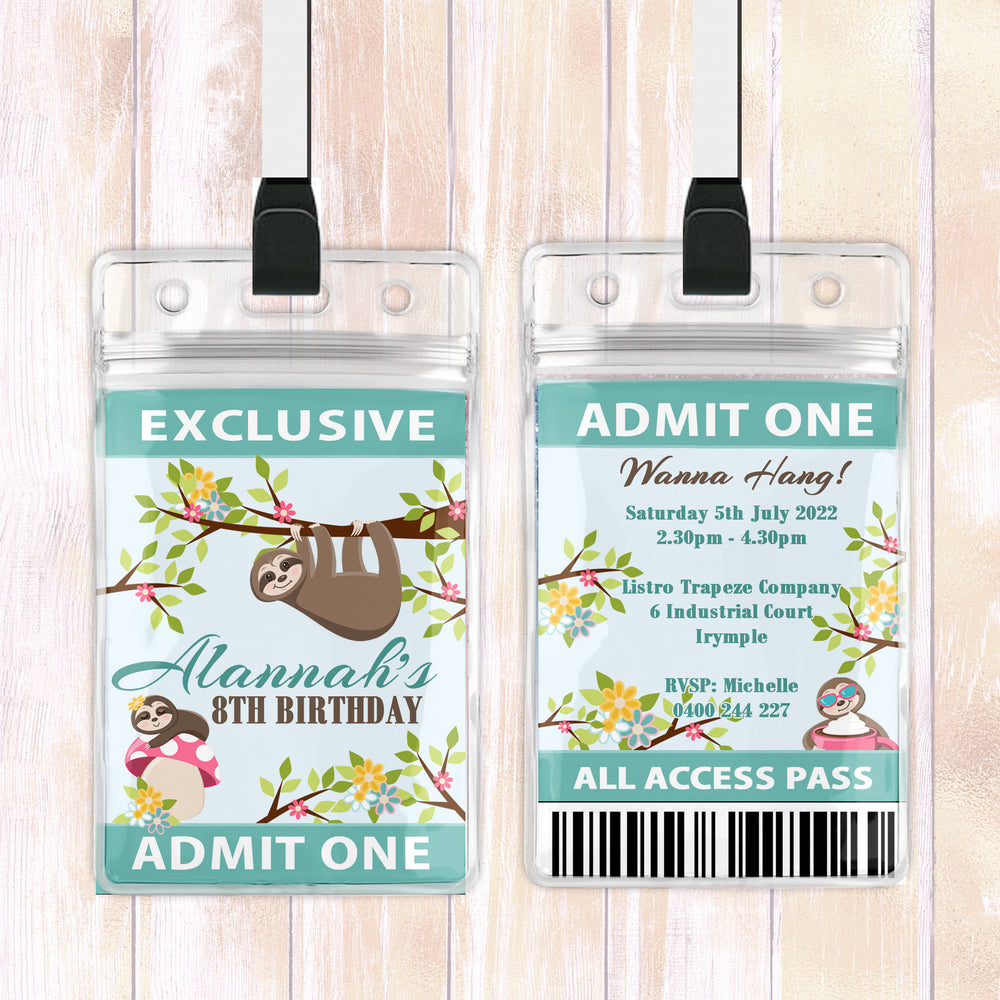 Alannah - Sloth Animal VIP Lanyard Birthday Invitation