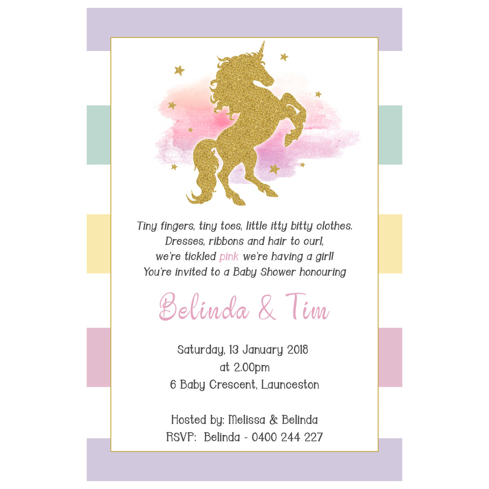 Belinda - Glitter Unicorn Baby Shower Invitation