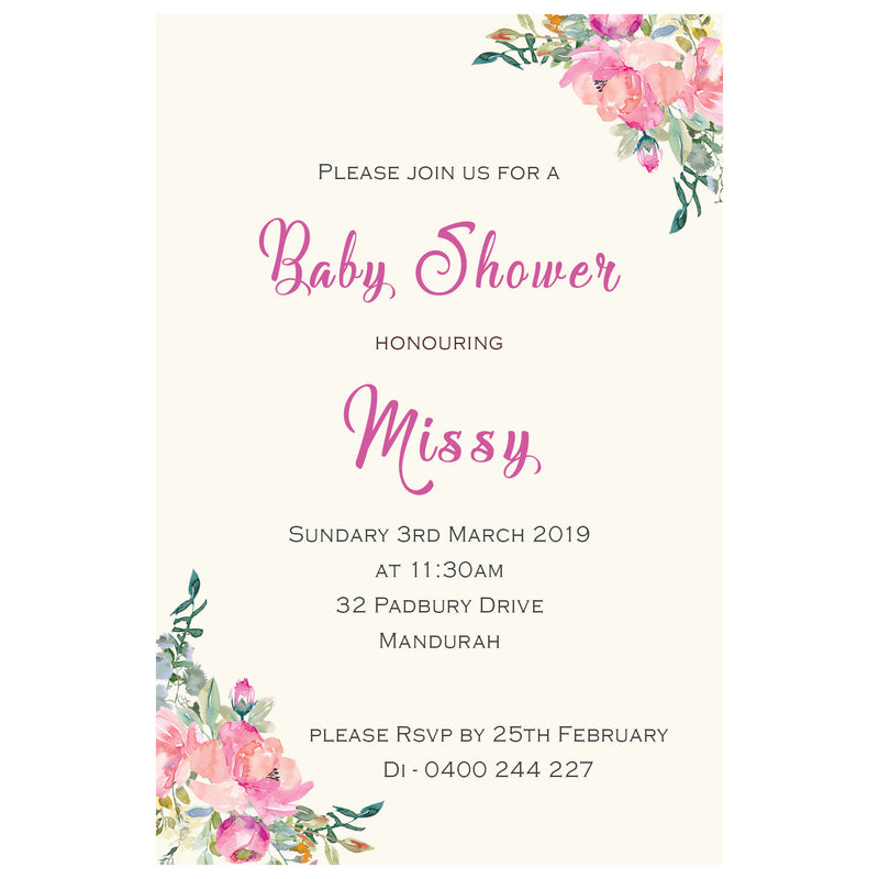 Missy - Floral Baby Shower Invitation