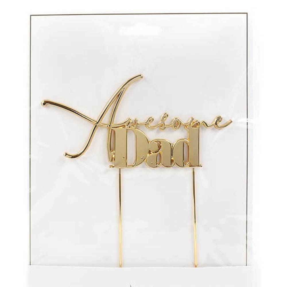 Awesome Dad Gold Metal Cake Topper
