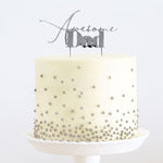 Awesome Dad Silver Metal Cake Topper