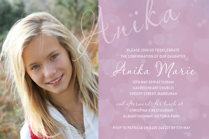 Anika - Confirmation Invitation with Photo