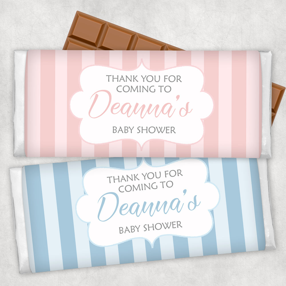 Striped Pink & Blue Chocolate Wrappers