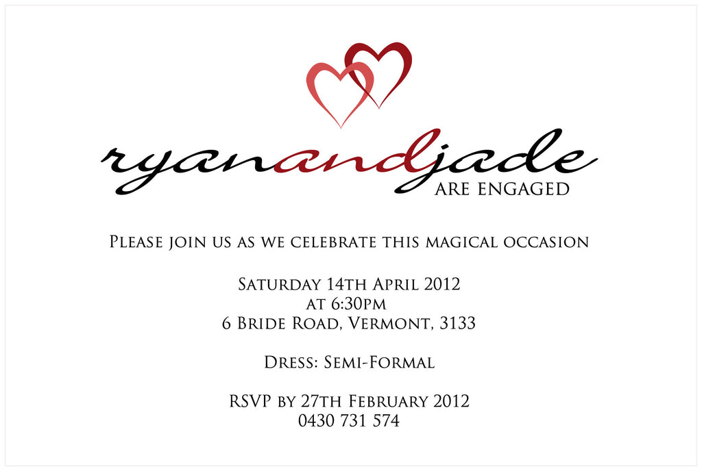 Jade & Ryan - Hearts Engagement Invitation
