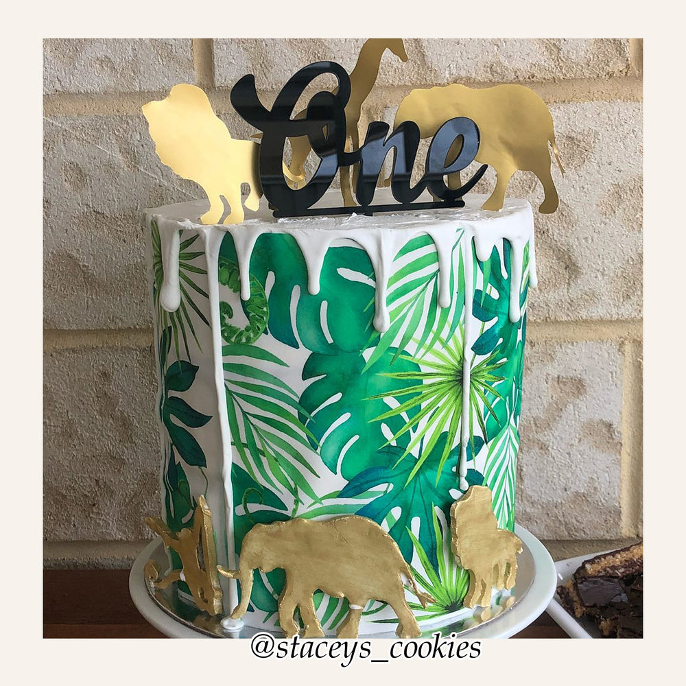 Fern Leaf Print Edible Icing Cake Wrap