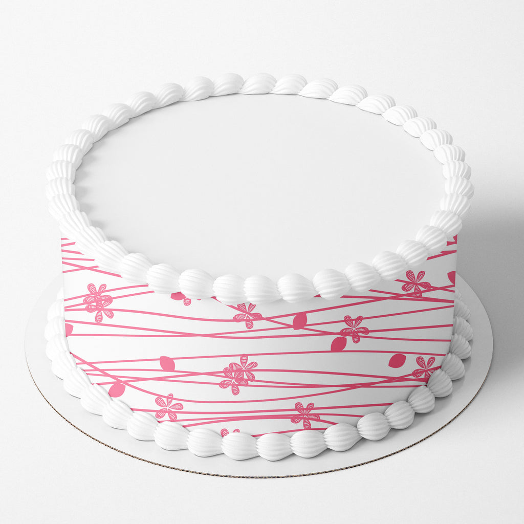 Pink Berries Striped Edible Icing Cake Wrap