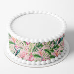 Tropical Flamingo Edible Icing Cake Wrap