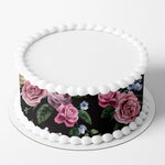 Floral Dark Flowers Edible Icing Cake Wrap
