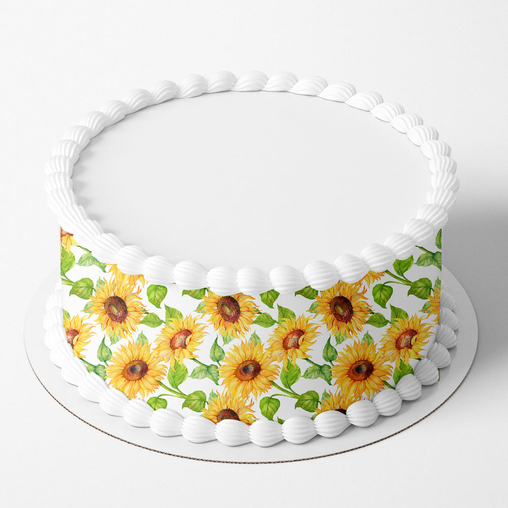 Sunflower Edible Icing Cake Wrap