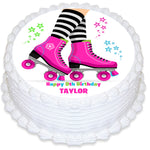 Rollerskating Round Edible Icing Cake Topper