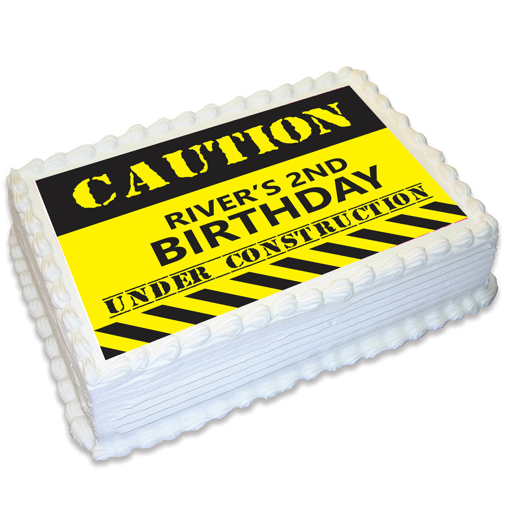 Construction Zone Rectangle Edible Icing Cake Topper