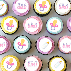 Baby Girl Mini Edible Cupcake Toppers