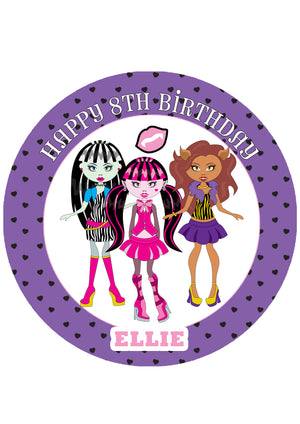 Monster High Inspired Round Edible Icing Cake Topper