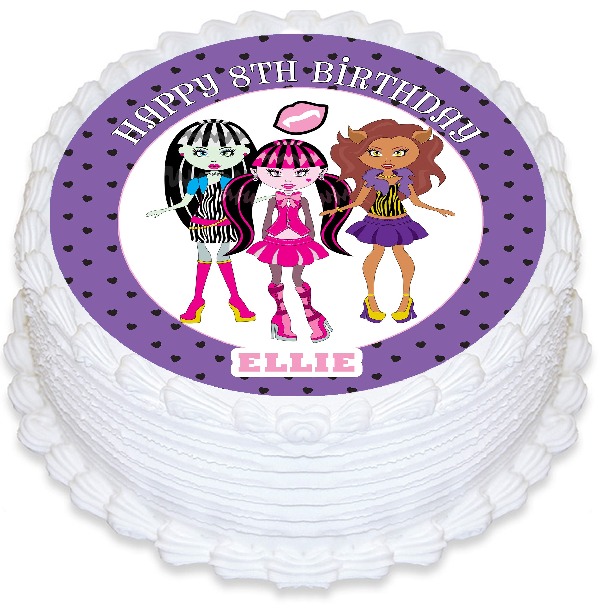 Monster High Inspired Round Edible Icing Cake Topper ...