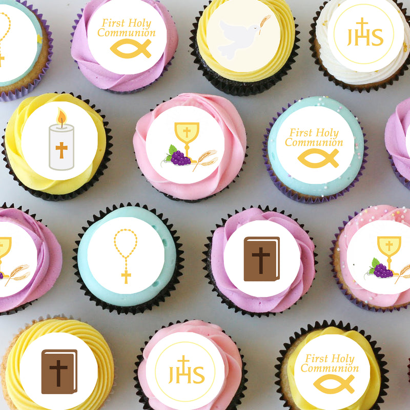Communion Mini Edible Cupcake Toppers