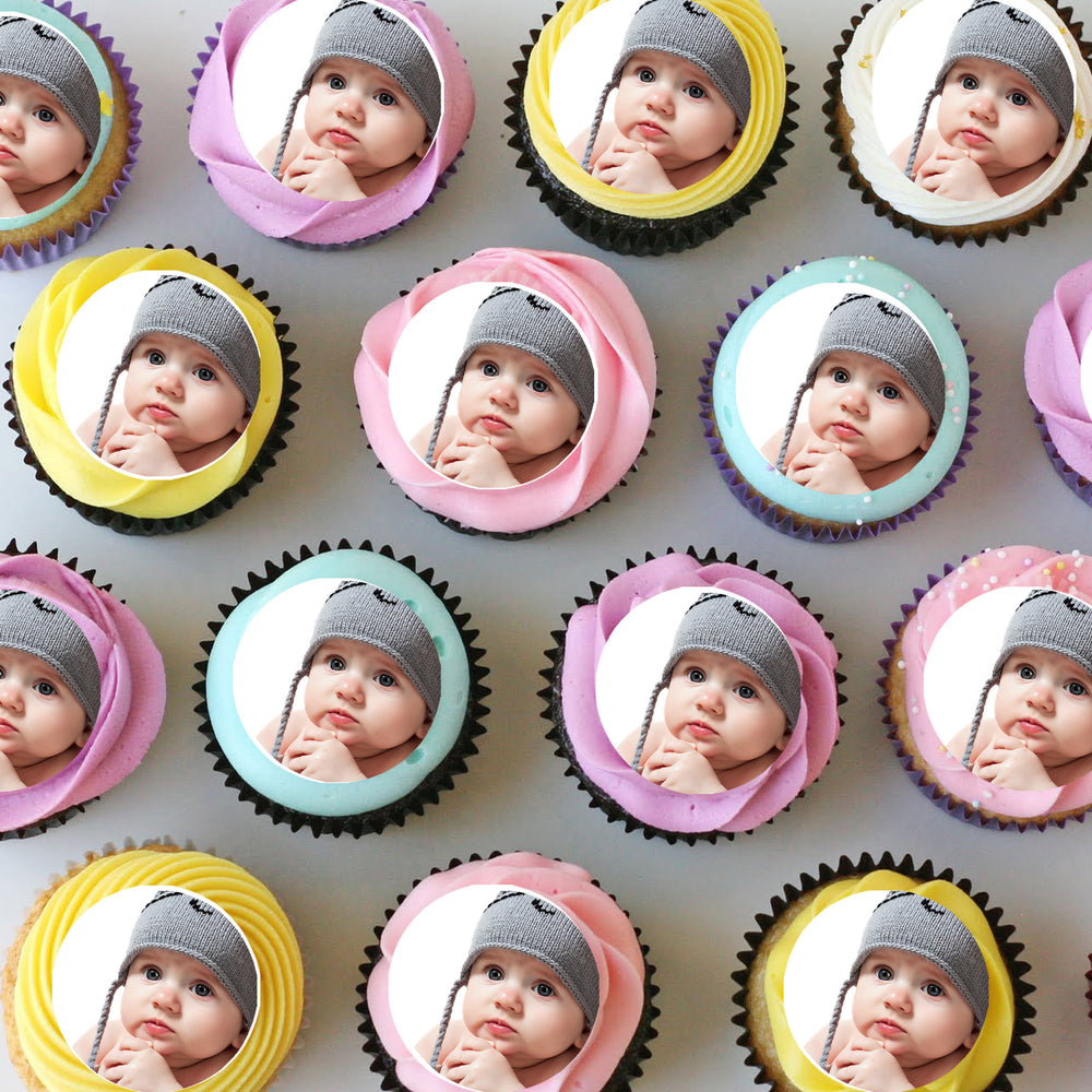 Mini Edible Cupcake Toppers with Your Own Image