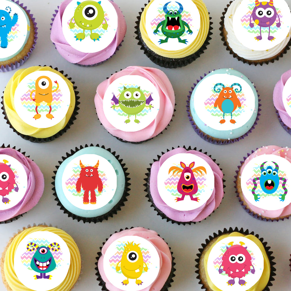 Monsters Mini Edible Cupcake Toppers