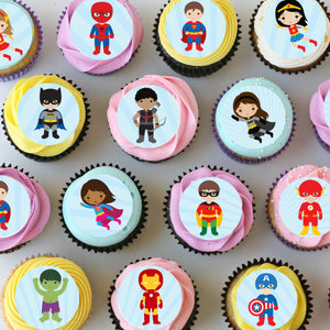 Superhero Mini Edible Cupcake Toppers