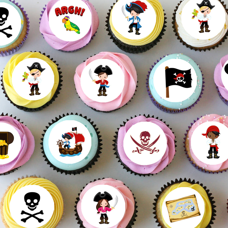 Pirate Themed Mini Edible Cupcake Toppers