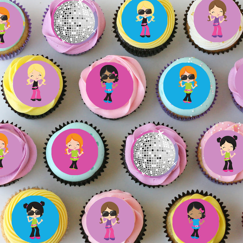 Disco Dance Mini Edible Cupcake Toppers