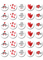 Valentines Day Mini Edible Cupcake Toppers