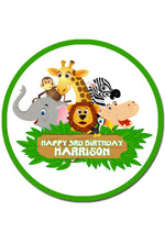 Jungle Animal Round Edible Cake Topper