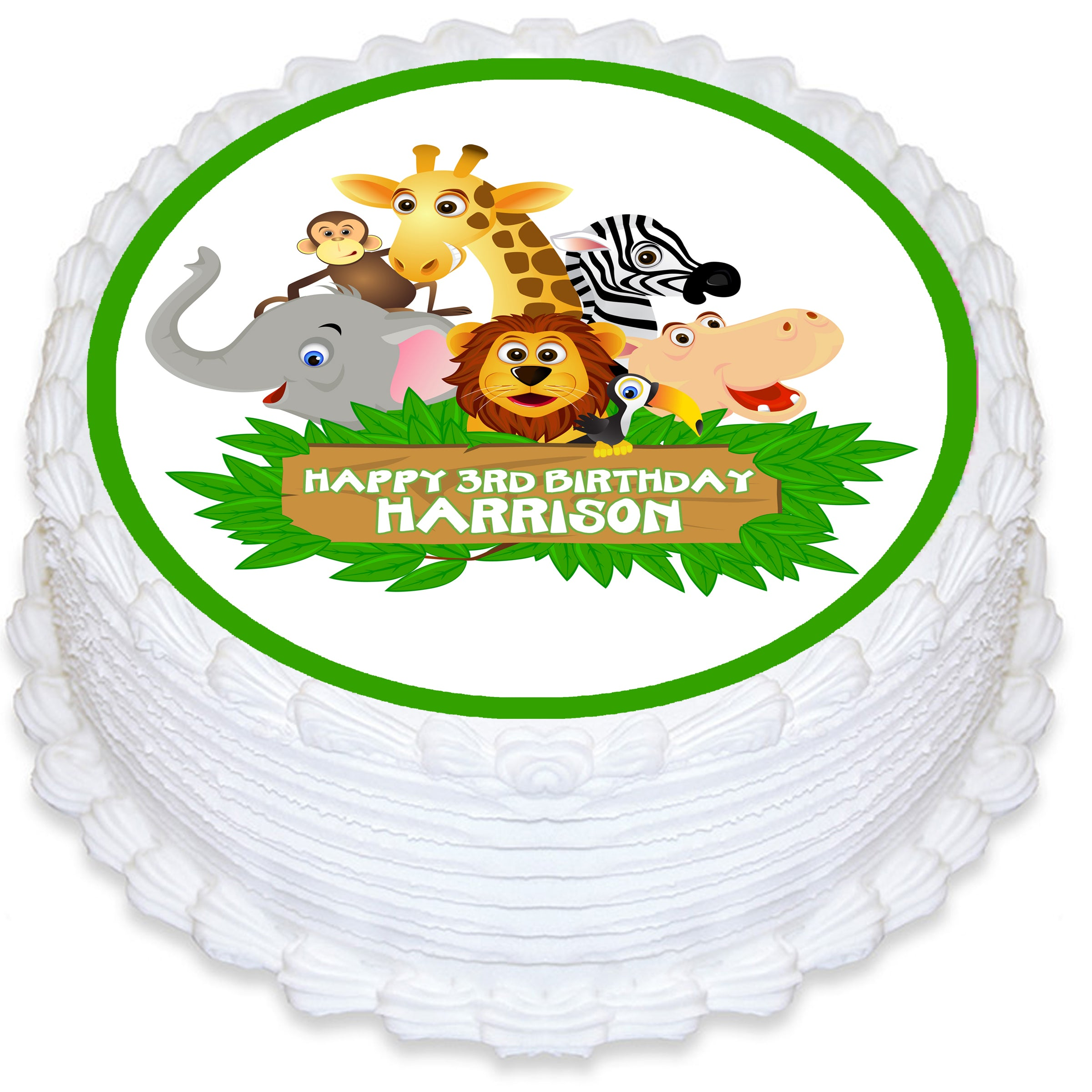 Jungle Animal Round Edible Cake Topper Deezee Designs