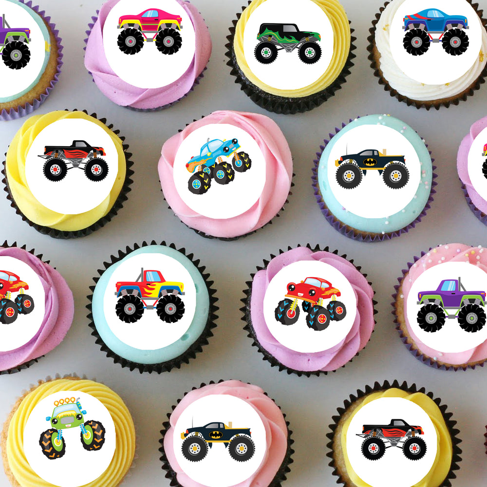 Monster Trucks Mini Edible Cupcake Toppers