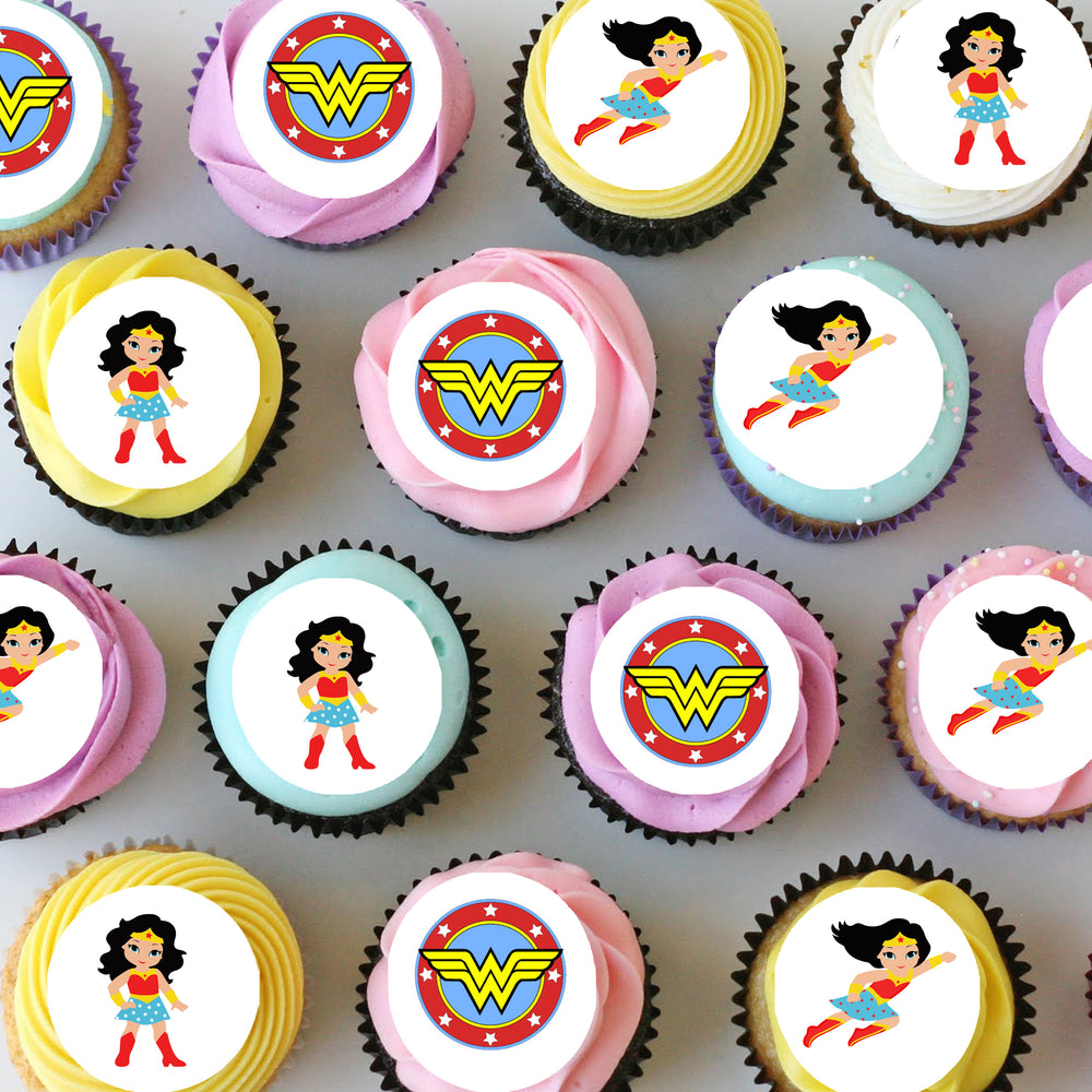 Wonderwoman Mini Edible Cupcake Toppers