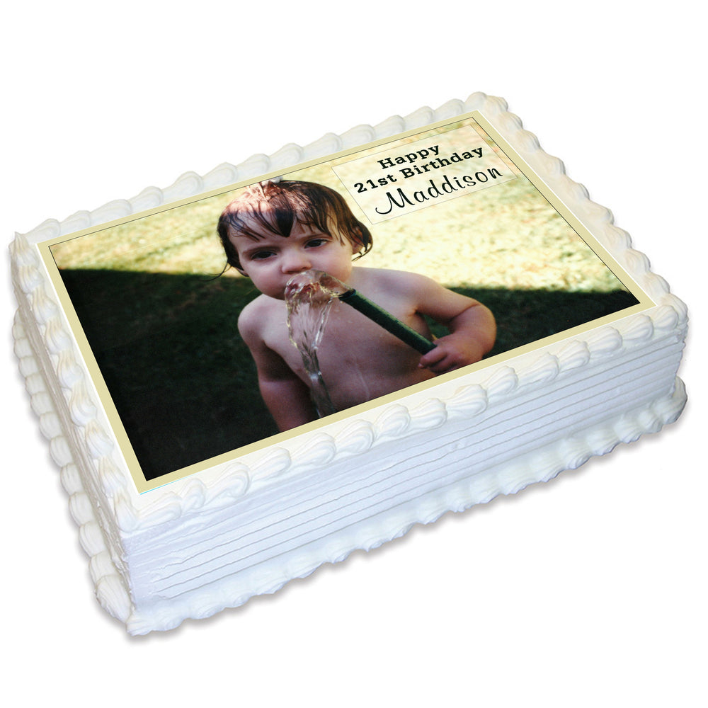 Rectangle Edible Cake Topper with Your Own Image