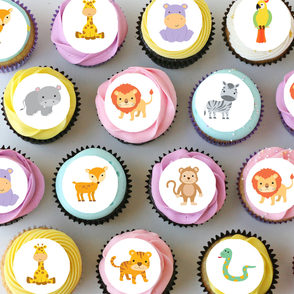Jungle Safari Animals Mini Edible Cupcake Toppers