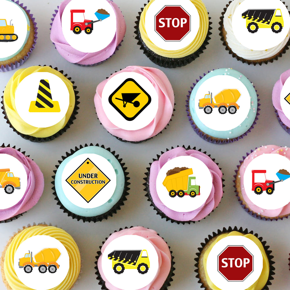 Construction Mini Edible Cupcake Toppers