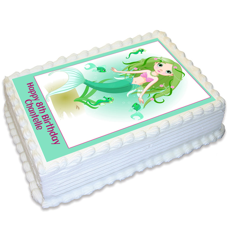 Mermaid Rectangle Edible Cake Topper