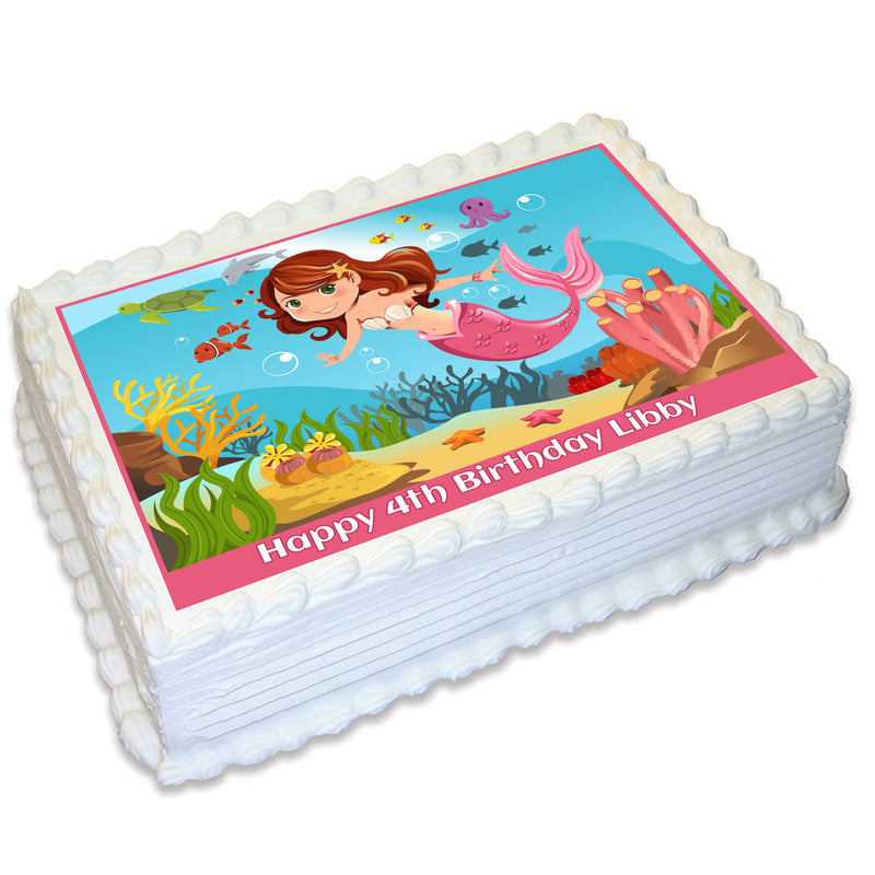 Mermaid Under The Sea Rectangle Edible Cake Topper