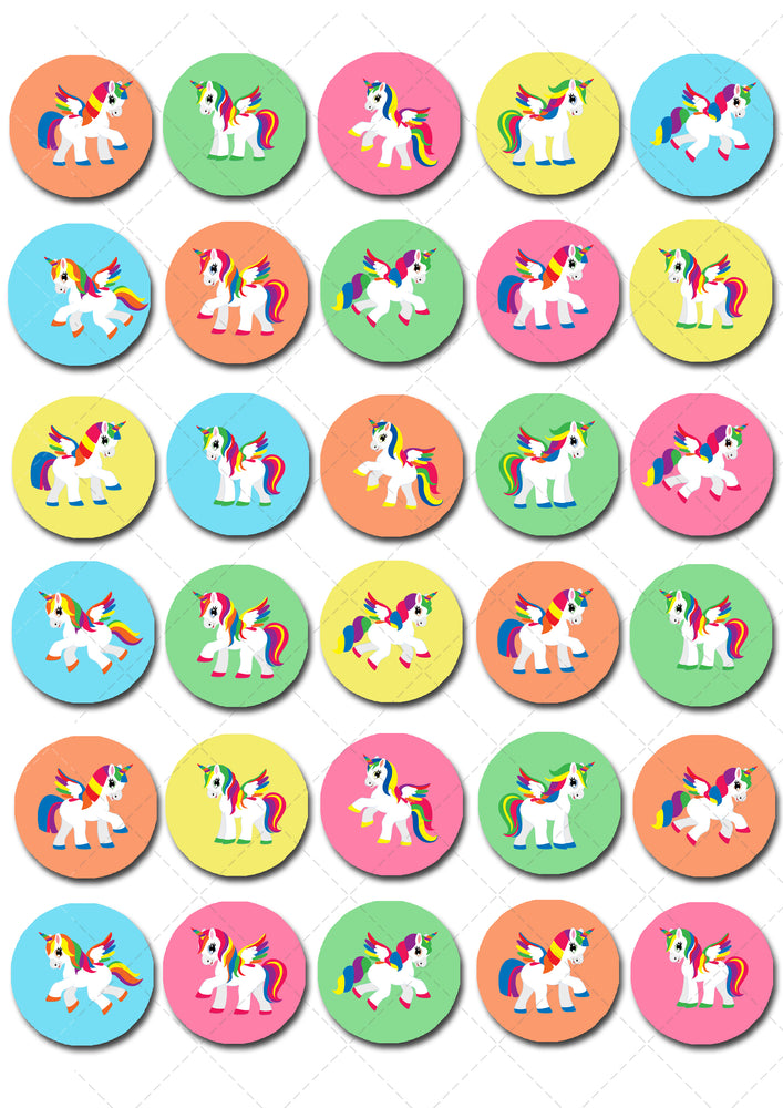 Unicorn Mini Edible Cupcake Toppers