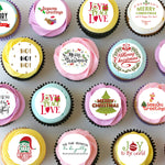 Christmas Xmas Pre-cut Mini Edible Icing Cupcake or Cookie Toppers