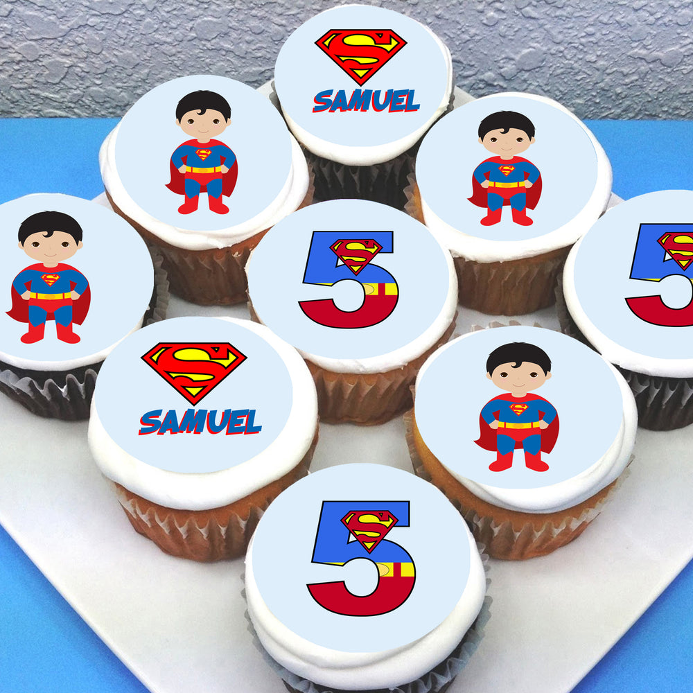 Superman Edible Cupcake Toppers