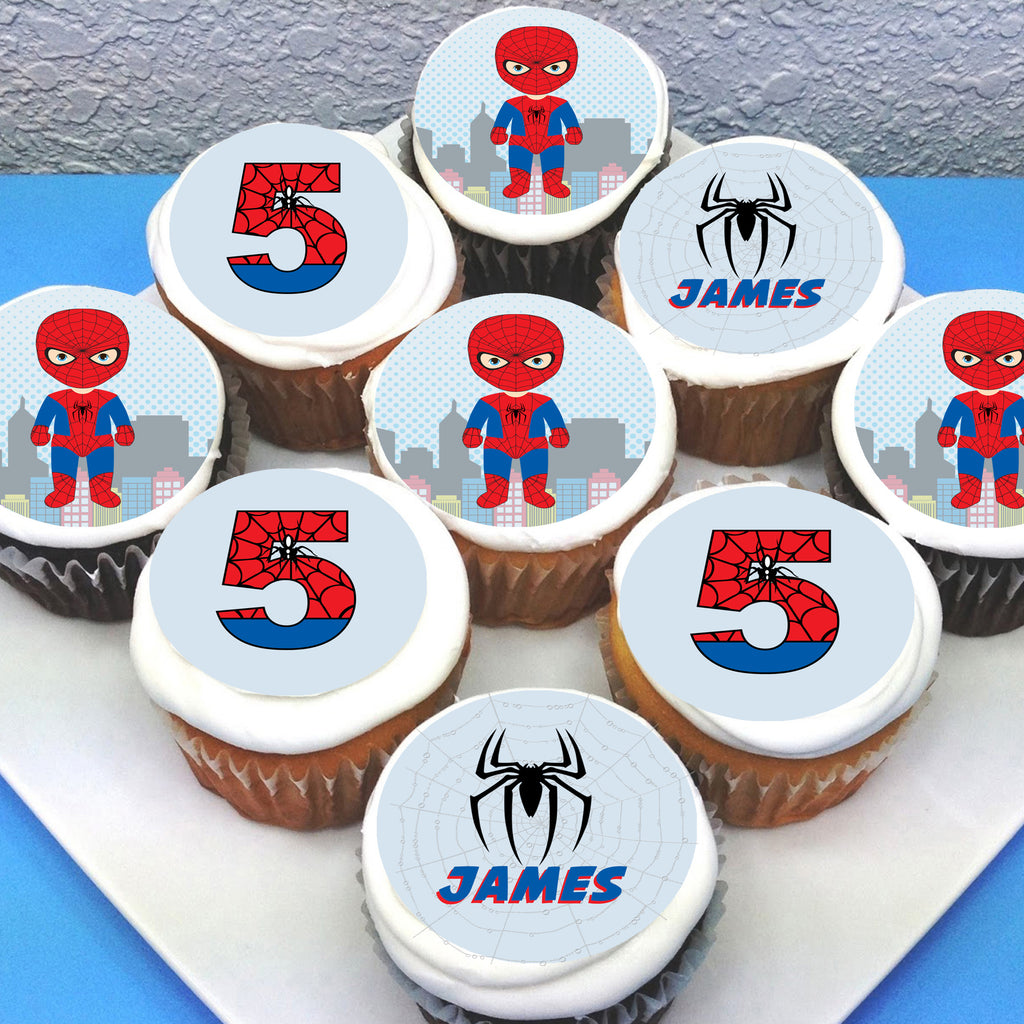 Spiderman Edible Cupcake Toppers