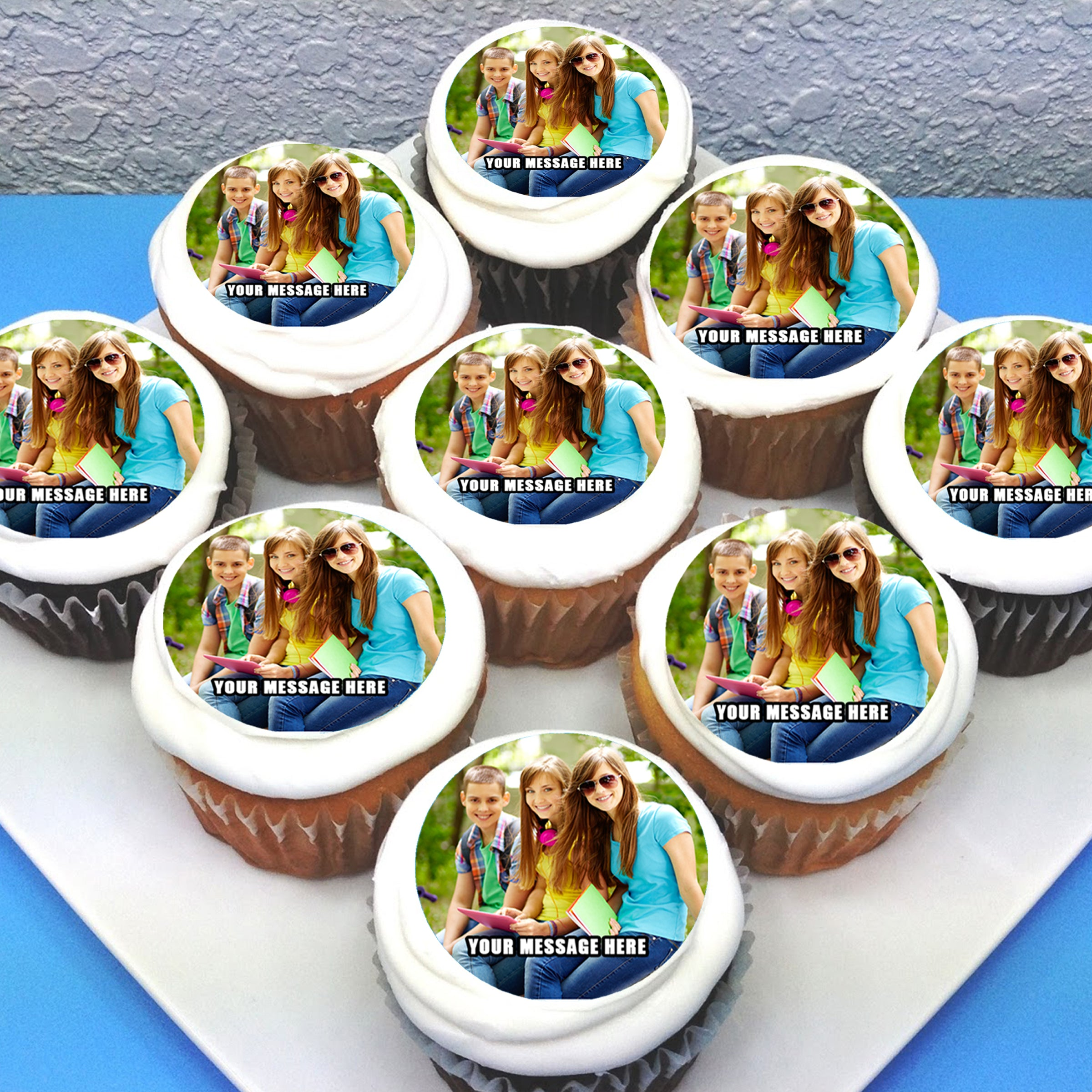 YOUR OWN PERSONALISED PHOTO EDIBLE CUPCAKE TOPPER PICTURE ON A CUPCAKE