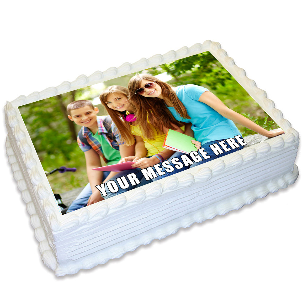 Rectangle Edible Icing Cake Topper with Your Own Image