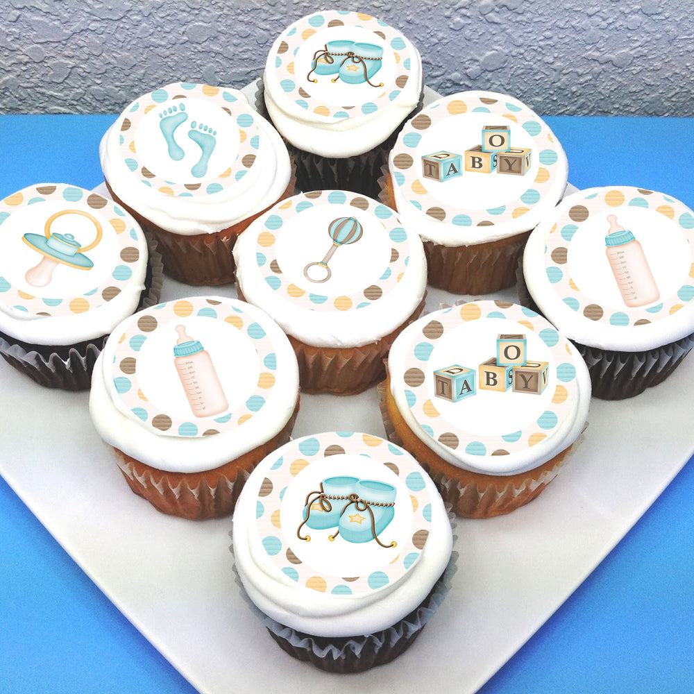 Baby Boy Pre-cut Edible Icing Cupcake or Cookie Toppers