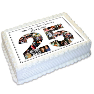 Anniversary Photo Collage Rectangle Edible Cake Topper