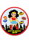 Wonderwoman Round Edible Cake Topper