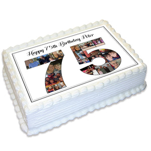 Photo Collage Rectangle Edible Icing Cake Topper