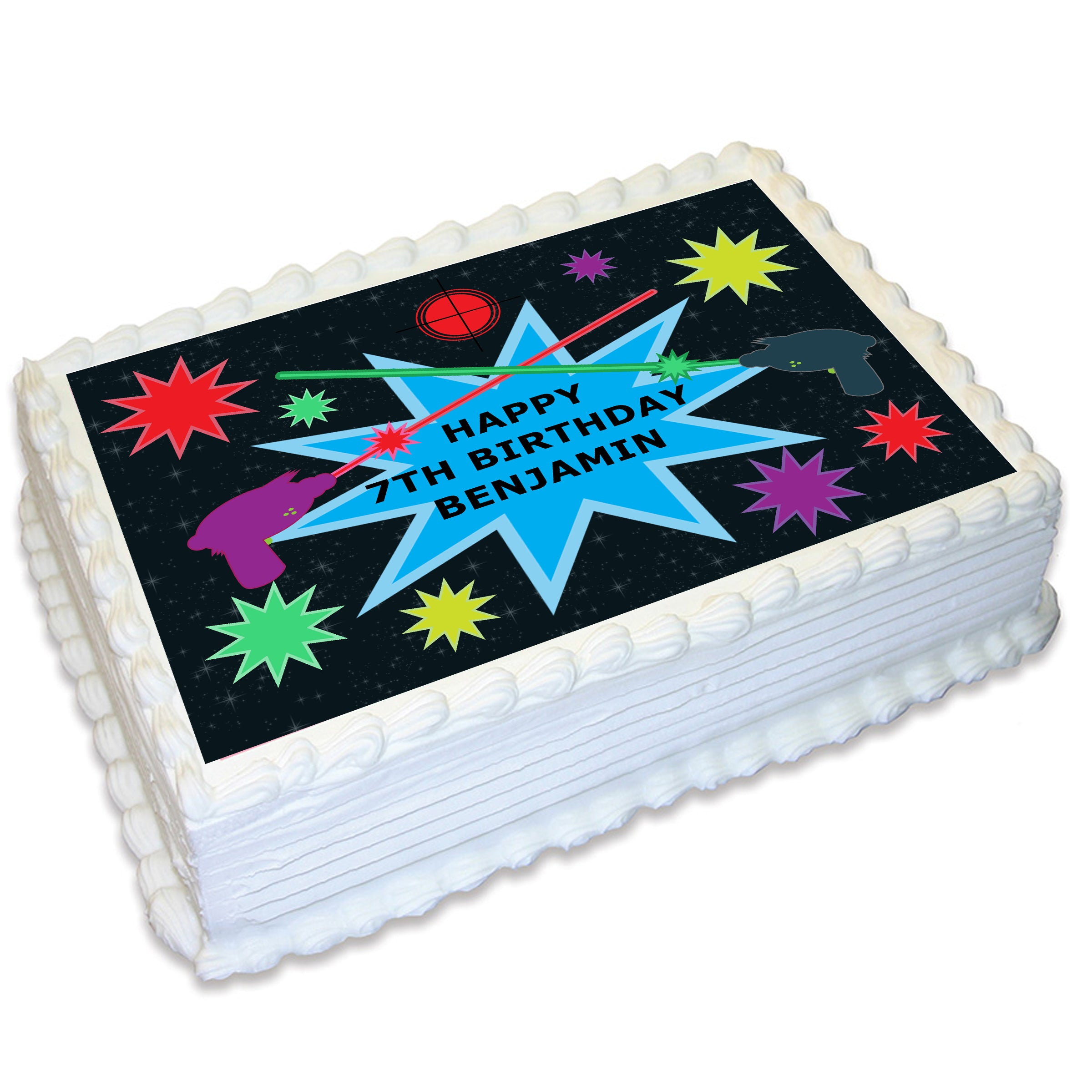 Super Laser Tag Rectangle Edible Cake Topper Deezee Designs Funny Birthday Cards Online Inifofree Goldxyz