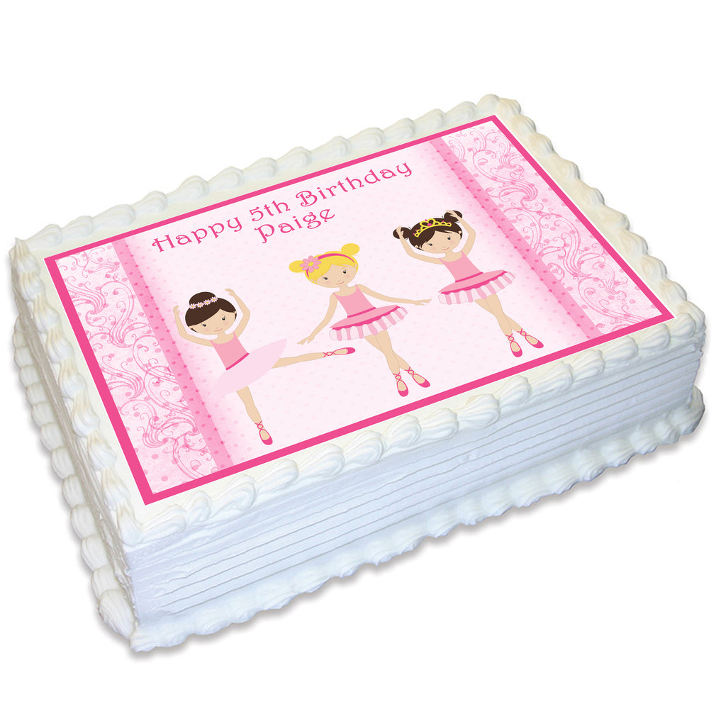Ballerina Rectangle Edible Icing Cake Topper