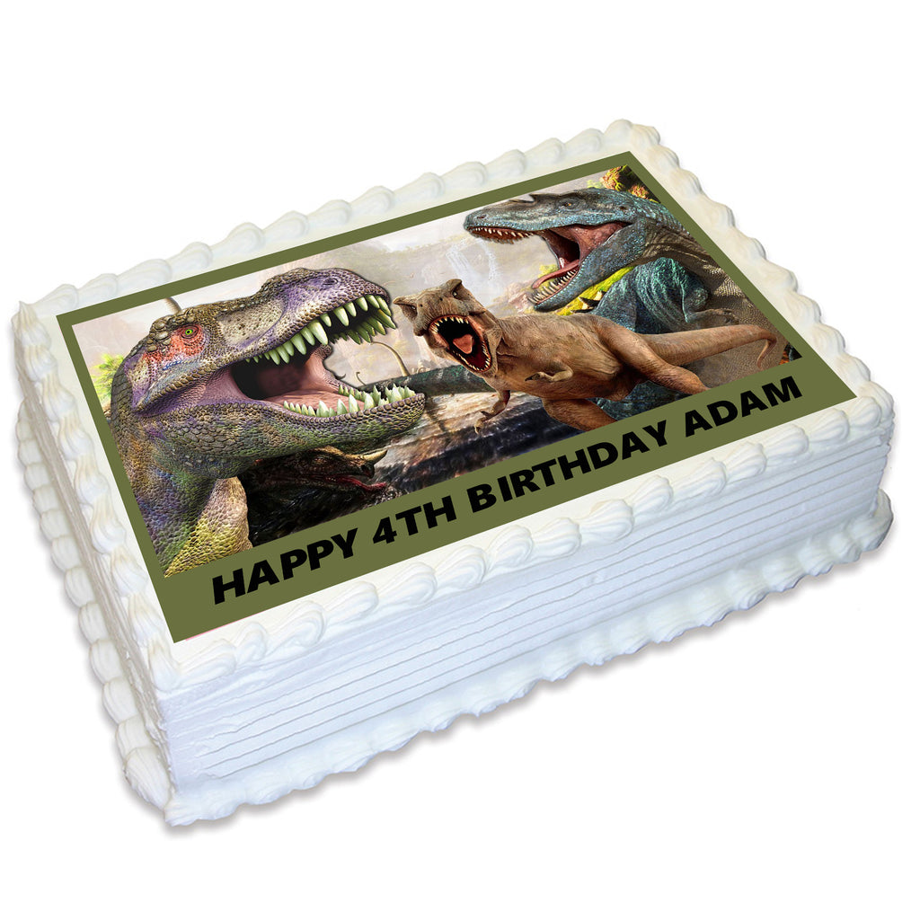 Dinosaur Rectangle Edible Cake Topper