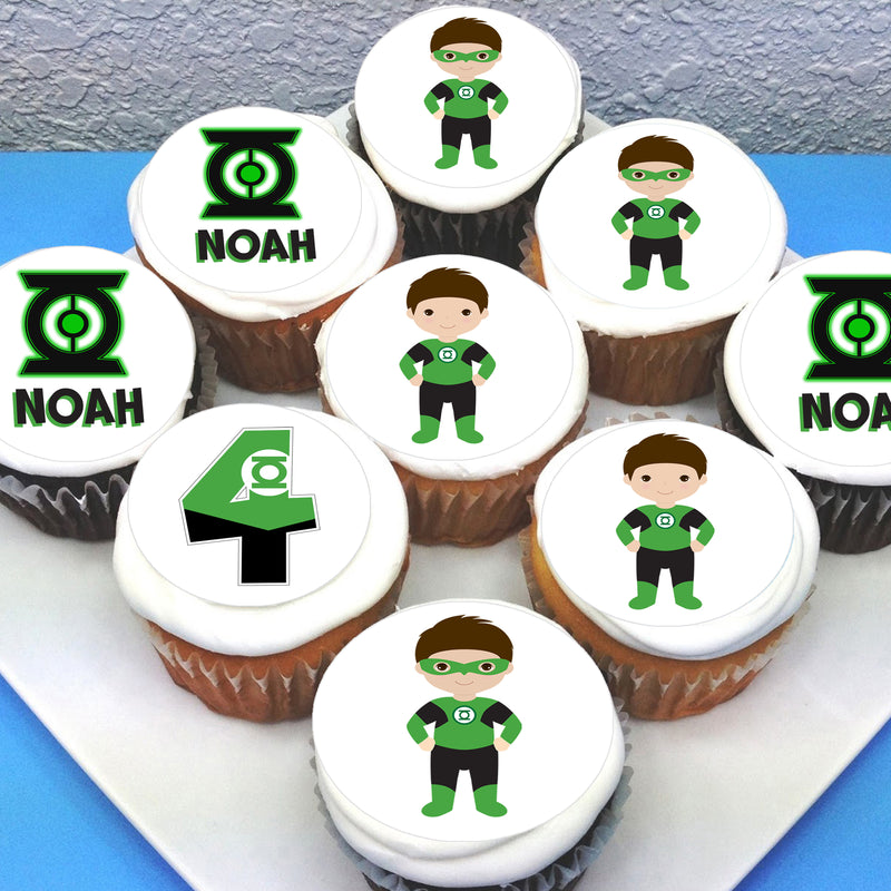 Green Lantern Edible Cupcake Toppers