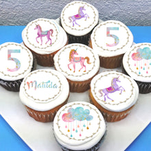 Watercolour Unicorn Edible Cupcake Toppers